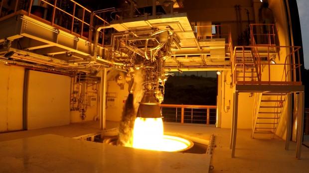 한국항공우주연구원은 전남 고흥 나로우주센터에서 7월과 11월 각각 75t급 액체엔진 연소시험에 성공했다. - 한국항공우주연구원 제공